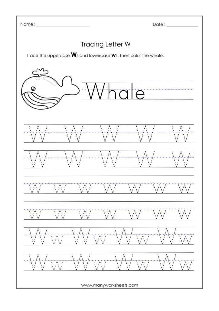 Letter W Worksheets For Kindergarten – Trace Dotted Letters Regarding Letter W Tracing Worksheets