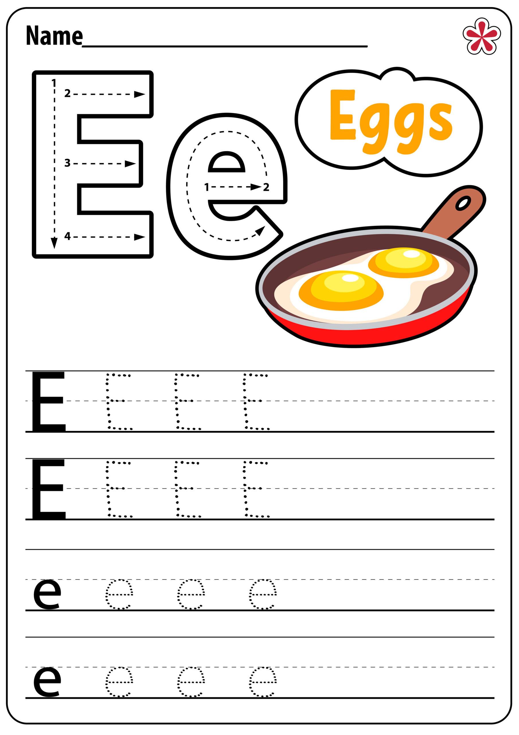 Letter Worksheets For Kindergarten And Preschool Teachersmag regarding Alphabet E Worksheets Kindergarten