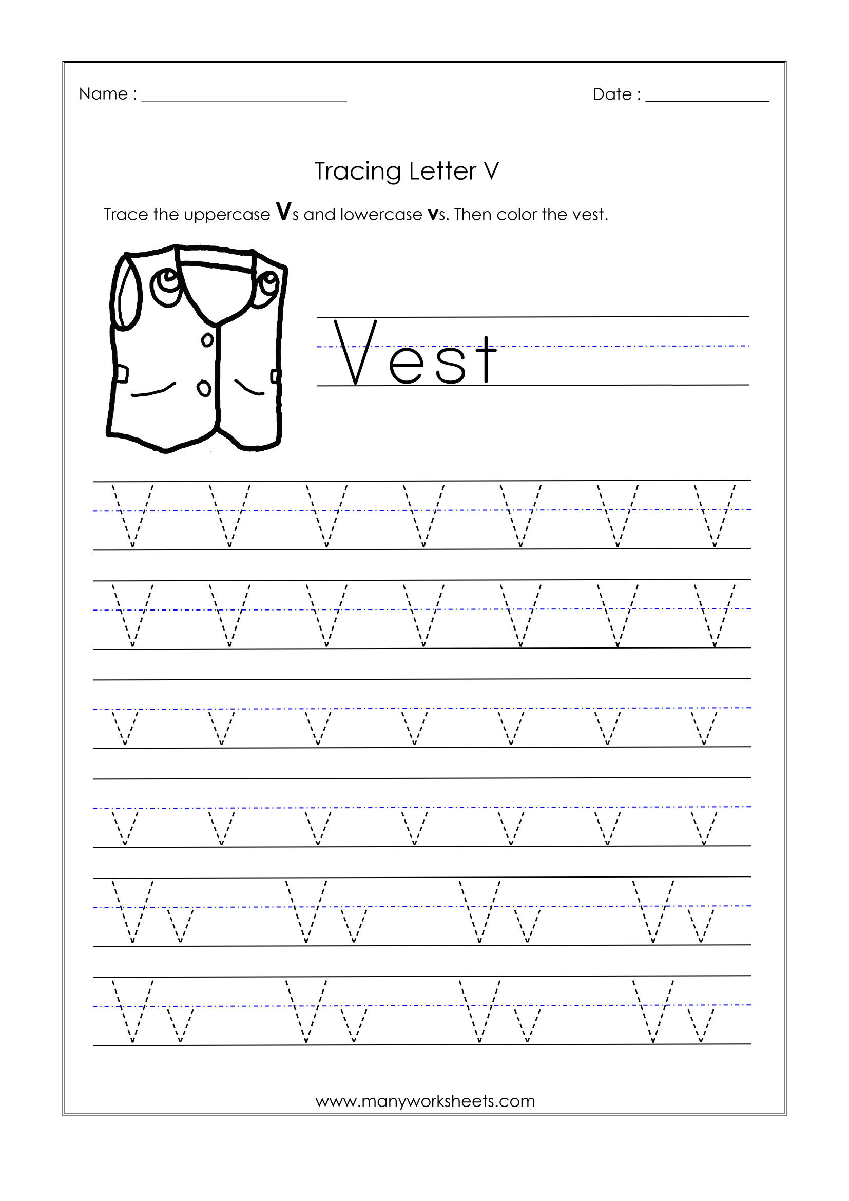 Letter Worksheets For Kindergarten Trace Dotted Letters inside Letter V Tracing Pages