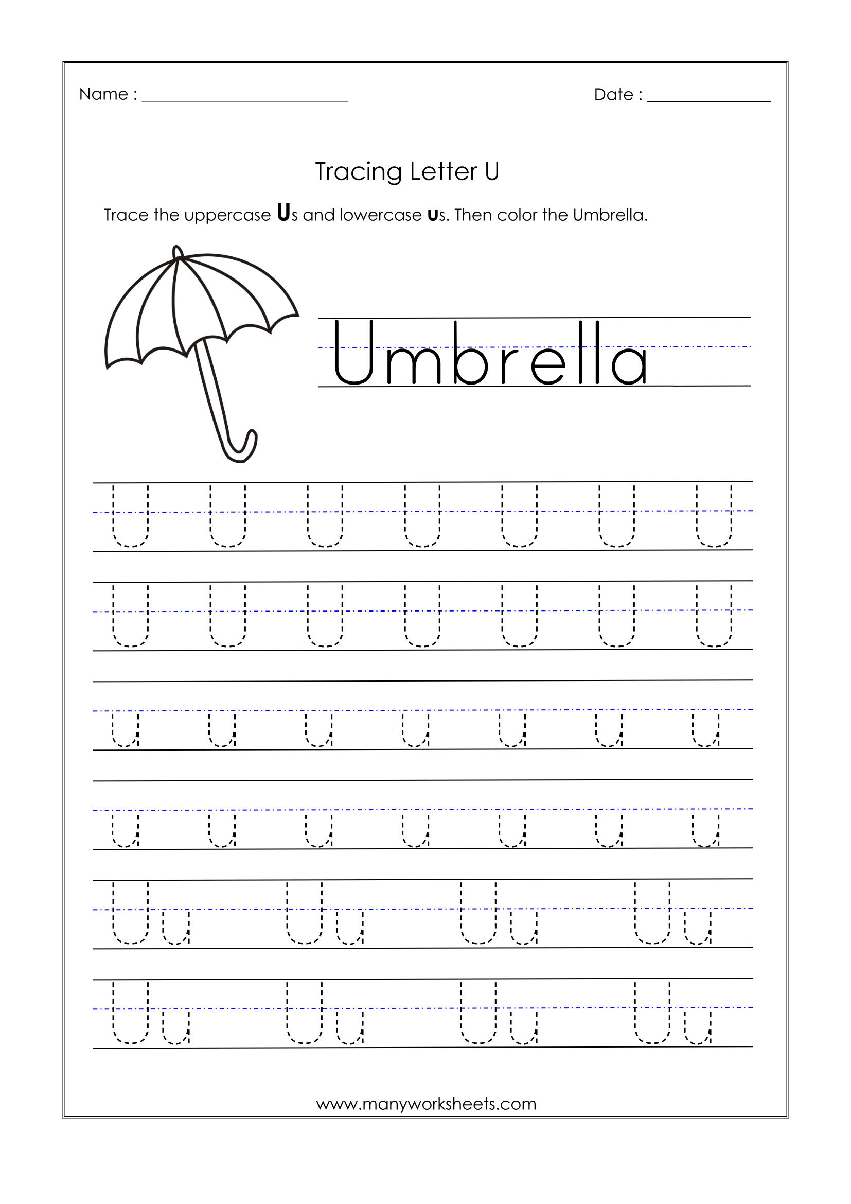 Letter Worksheets For Kindergarten Trace Dotted Letters Pre inside Letter U Worksheets