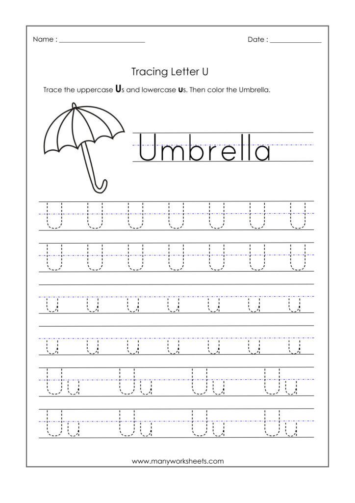Letter Worksheets For Kindergarten Trace Dotted Letters Pre Intended For Letter U Worksheets For Preschool