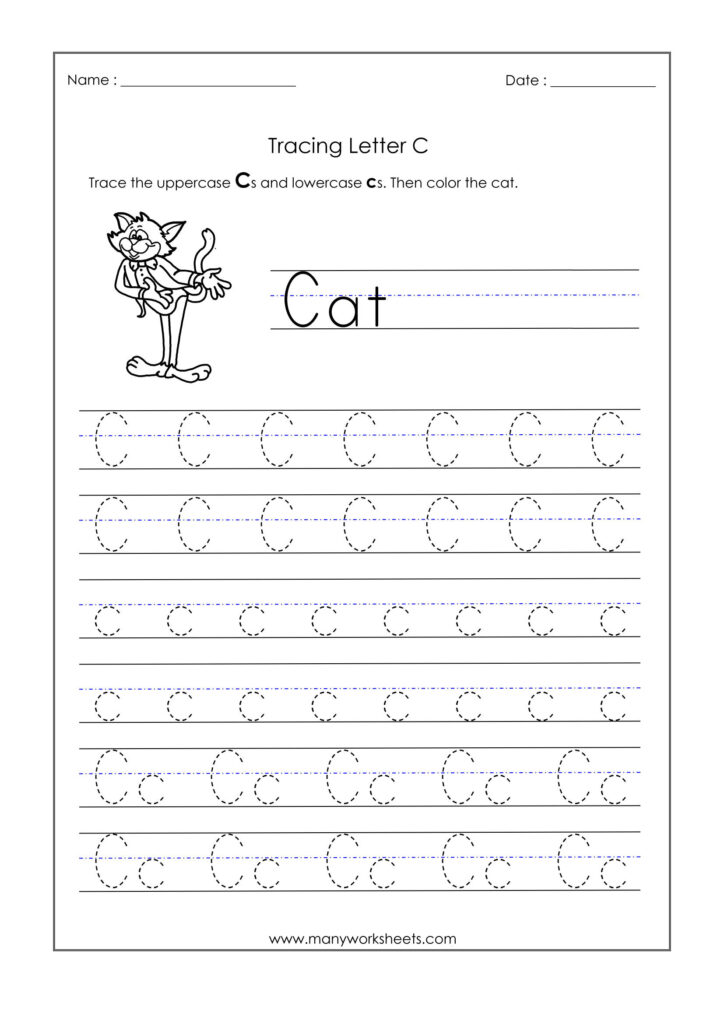 Letter Worksheets For Kindergarten Trace Dotted Letters With C Letter Tracing