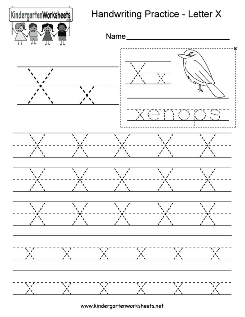 Letter X Writing Practice Worksheet   Free Kindergarten