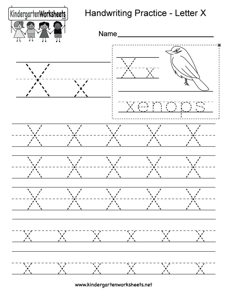 Letter X Writing Practice Worksheet - Free Kindergarten