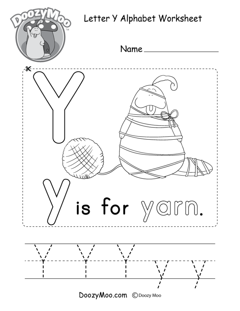 Letter Y Alphabet Activity Worksheet   Doozy Moo Pertaining To Letter Y Tracing Page