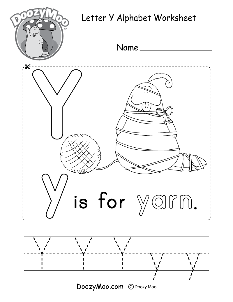 Letter Y Alphabet Activity Worksheet - Doozy Moo within Letter Yy Worksheets