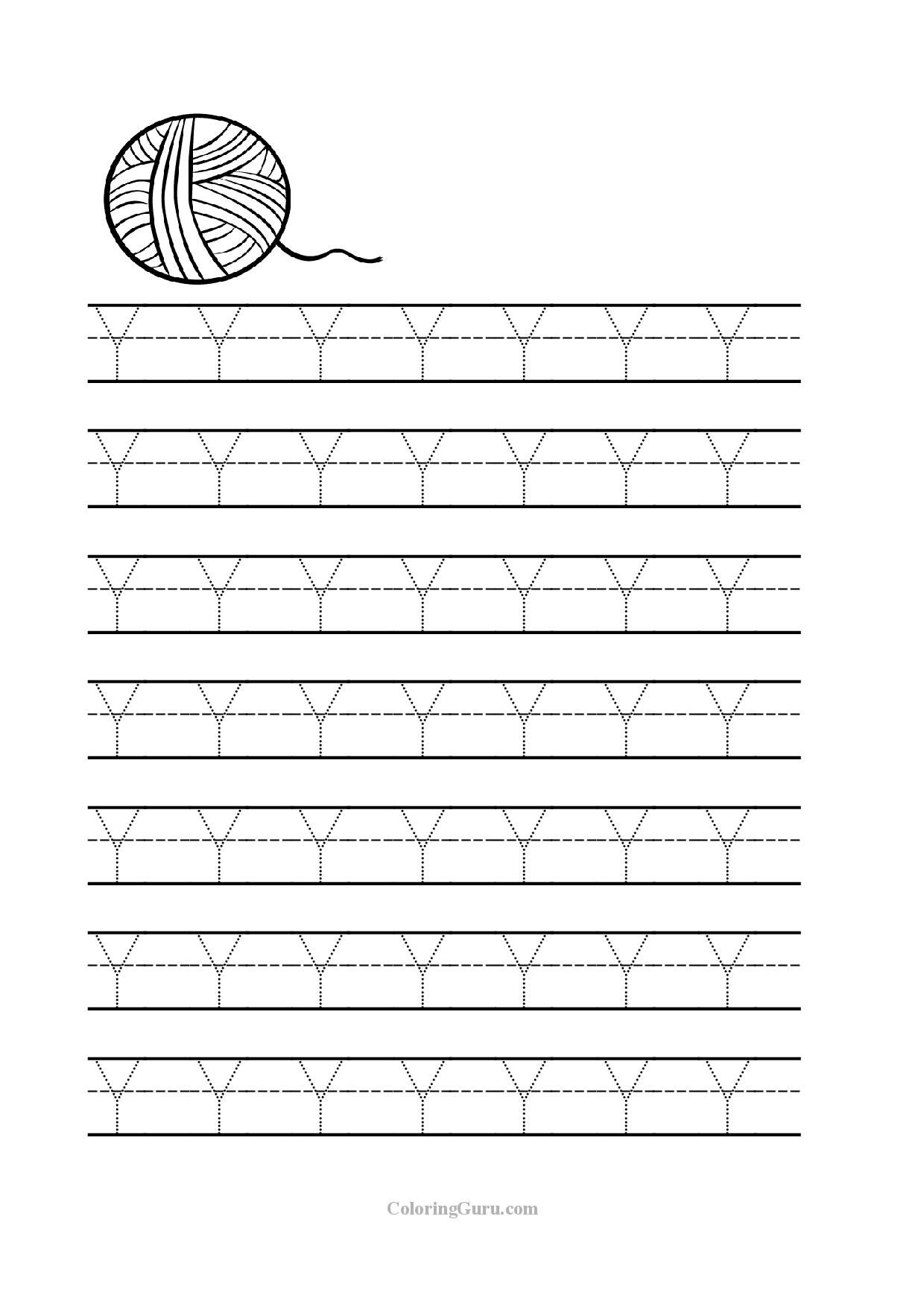 Letter Y Preschool Worksheets pertaining to Letter Y Tracing Page