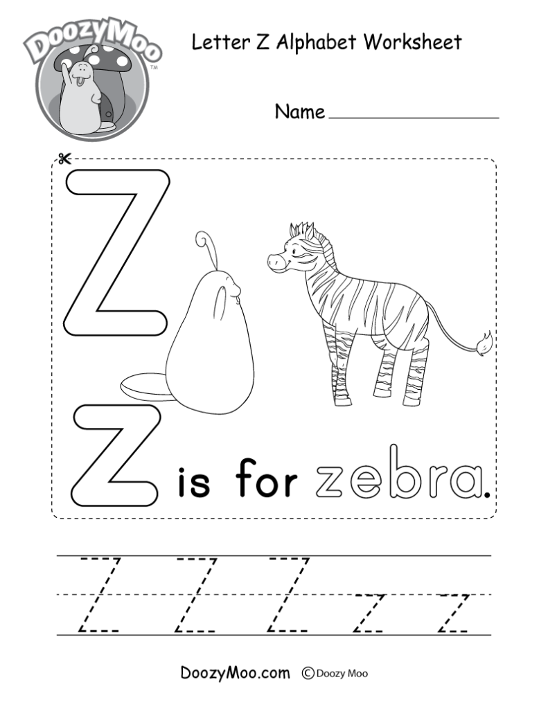 Letter Z Alphabet Activity Worksheet   Doozy Moo Intended For Letter Z Tracing Preschool