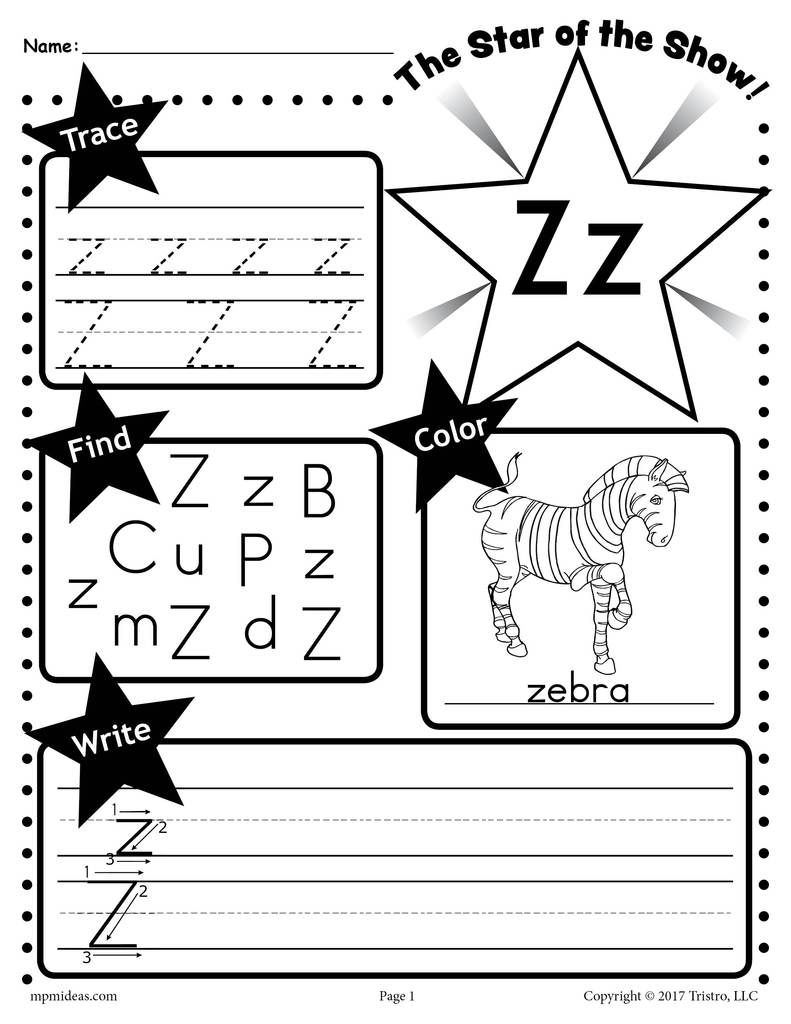 Letter Z Worksheet: Tracing, Coloring, Writing & More inside Tracing Letter Z Preschool