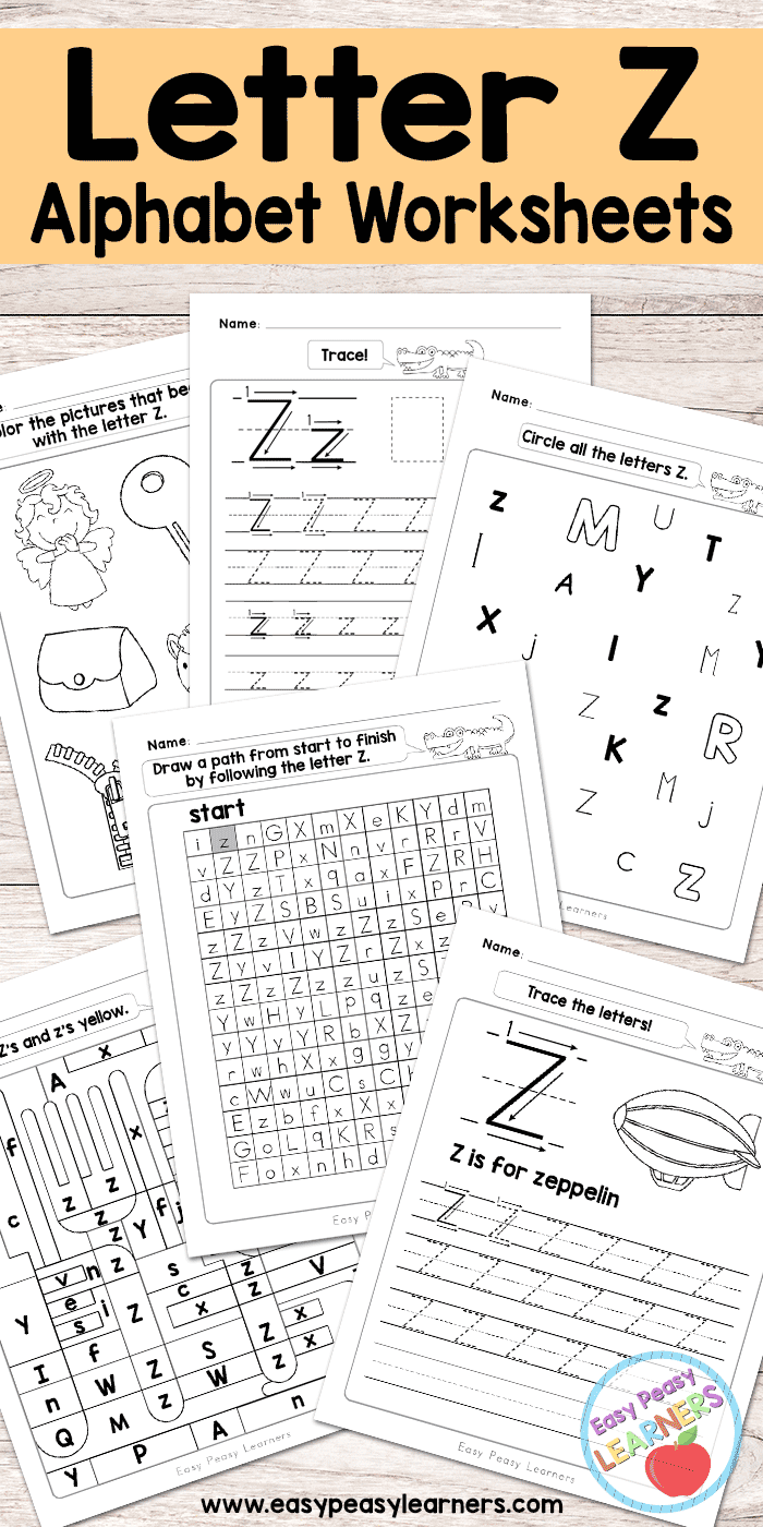 Letter Z Worksheets - Alphabet Series - Easy Peasy Learners throughout Z Letter Worksheets