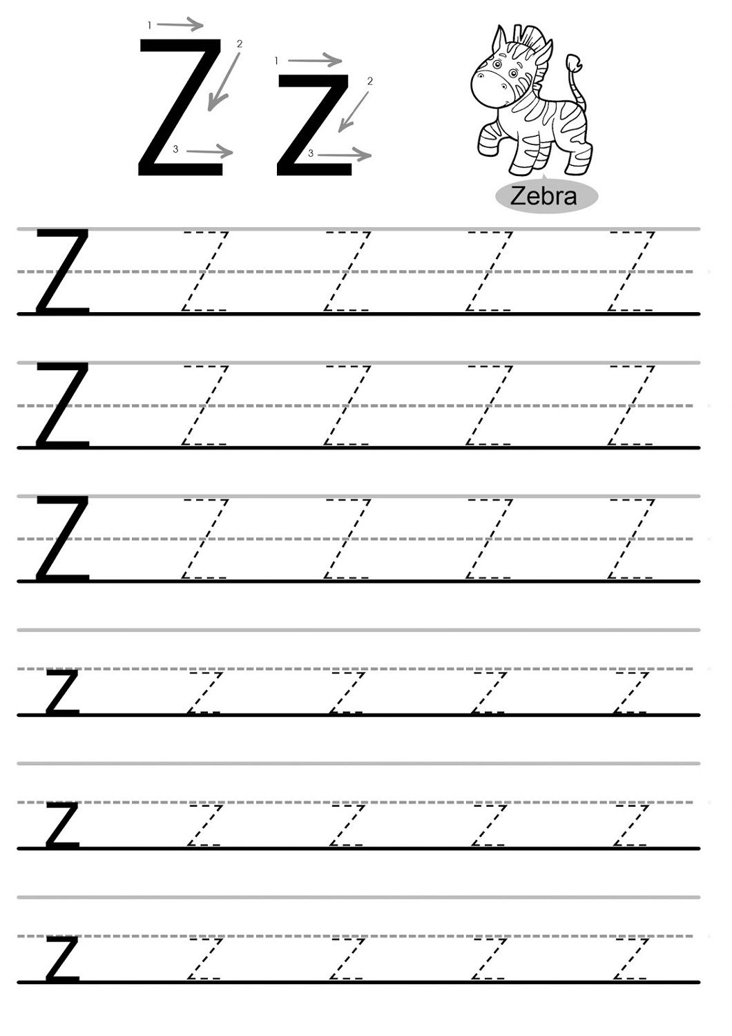 Letter Z Worksheets - Kids Learning Activity | Alphabet within Letter Z Tracing Sheet