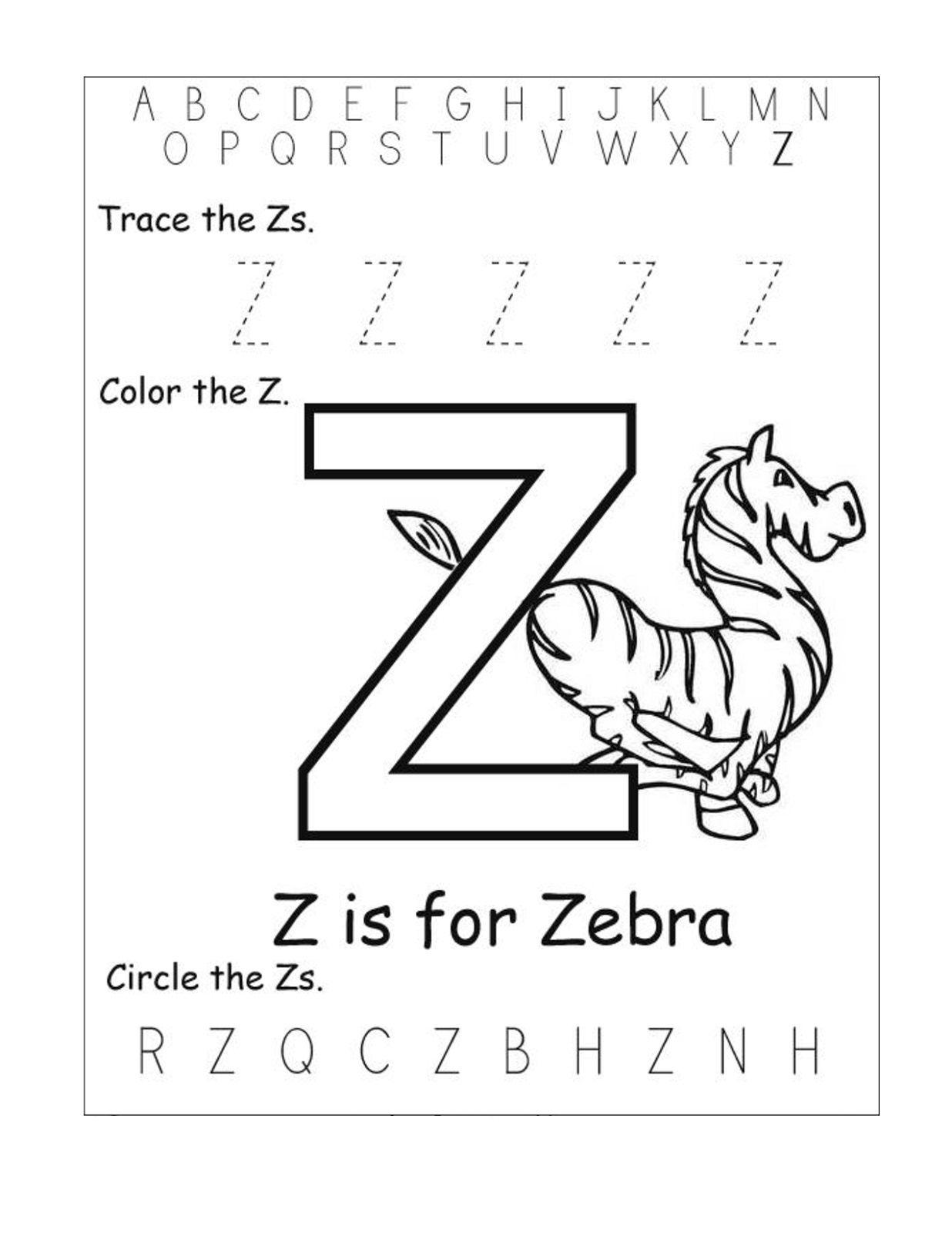 Letter Z Worksheets - Kids Learning Activity | Preschool inside Alphabet Worksheets For Kindergarten A To Z