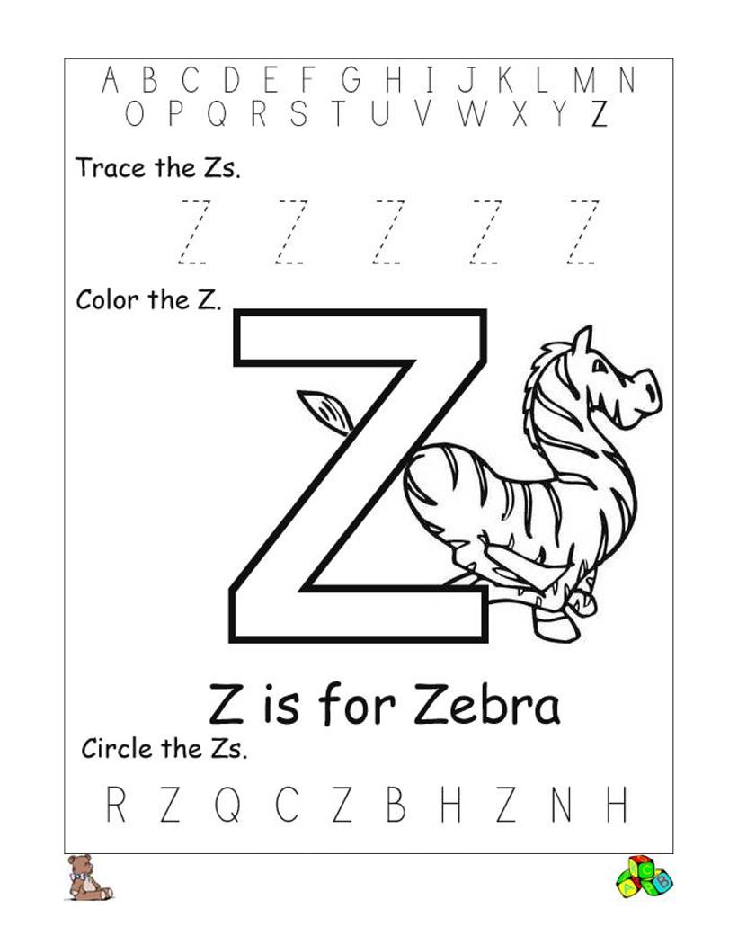 Letter Z Worksheets   Preschool Letters, Letter Worksheets within Letter Zz Worksheets