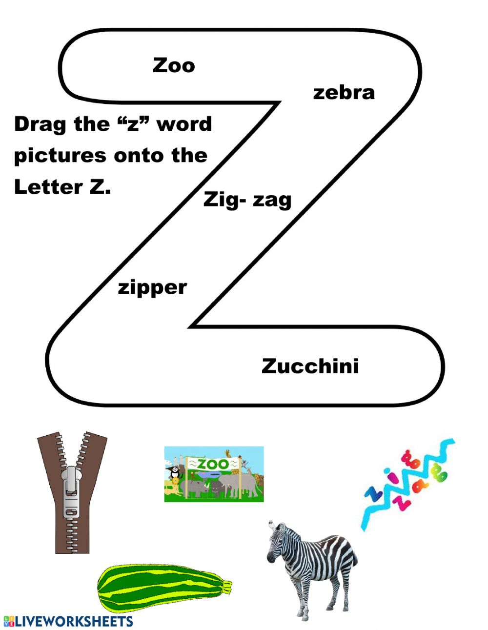 Letter Zz - Interactive Worksheet pertaining to Letter Zz Worksheets