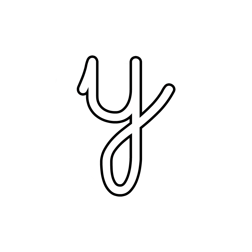 Letters And Numbers - Letter Y Lowercase Cursive