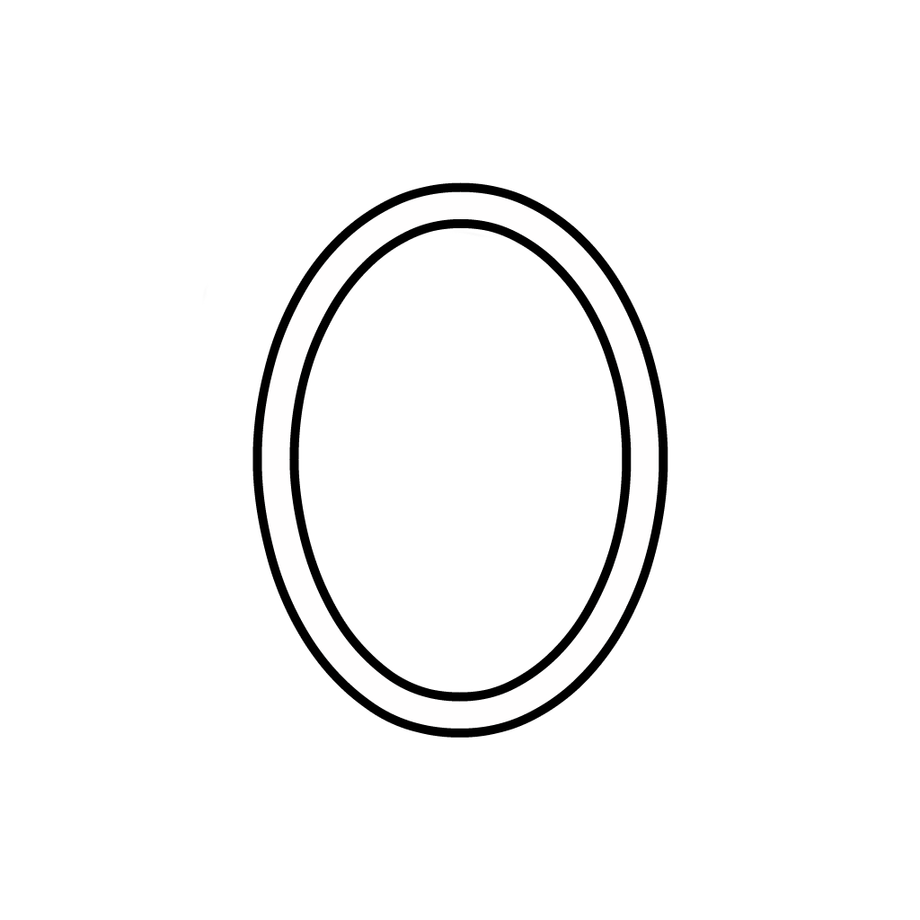 Letters And Numbers - Number 0 (Zero) Cursive