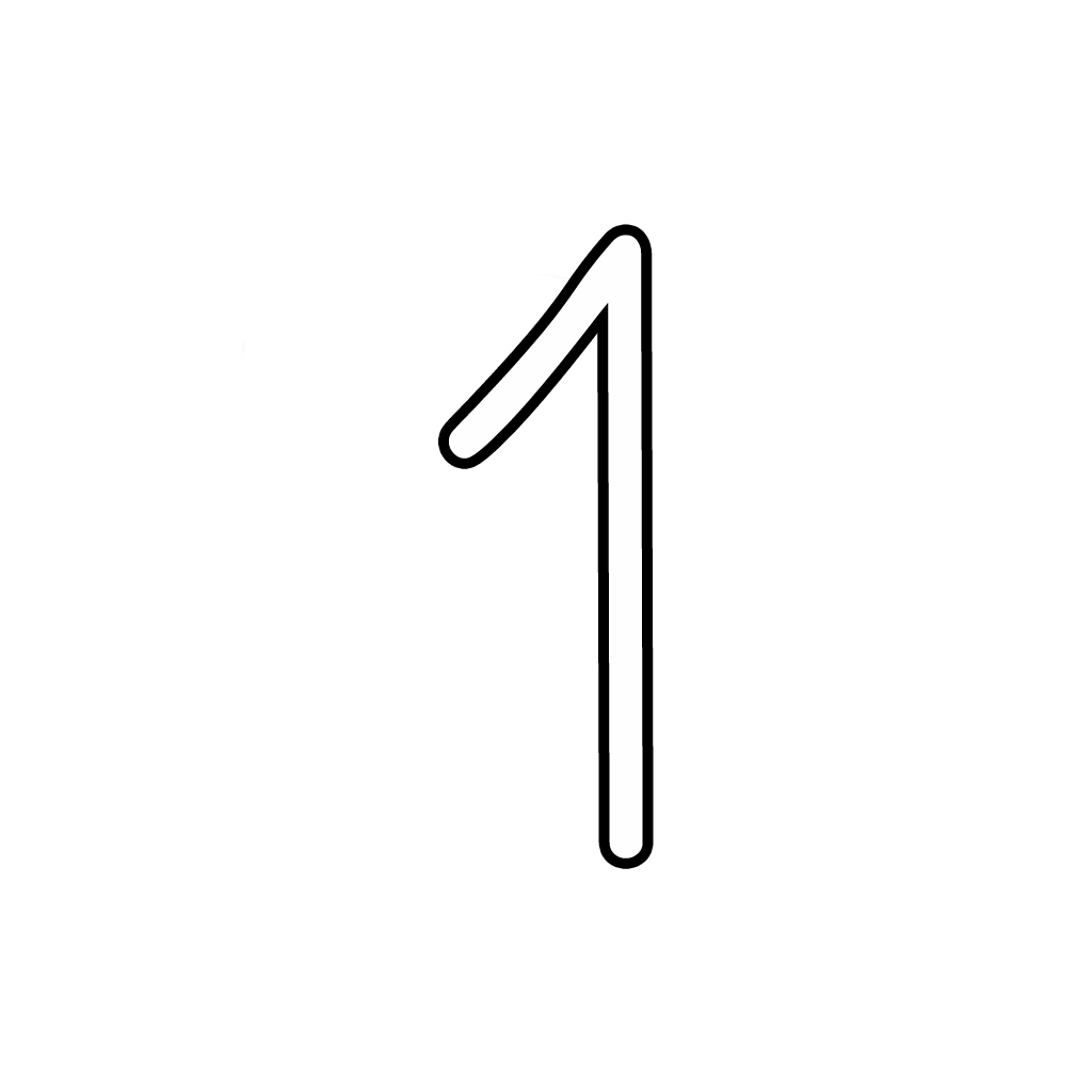 Letters And Numbers - Number 1 (One) Cursive