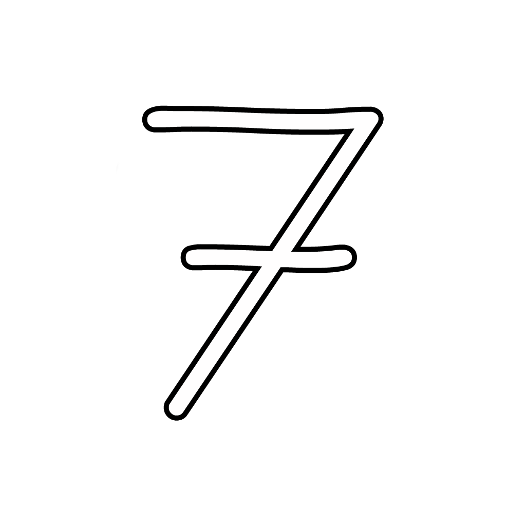 Letters And Numbers   Number 7 (Seven) Cursive