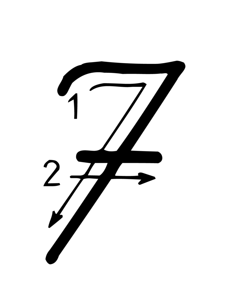 Letters And Numbers   Number 7 (Seven) With Indications