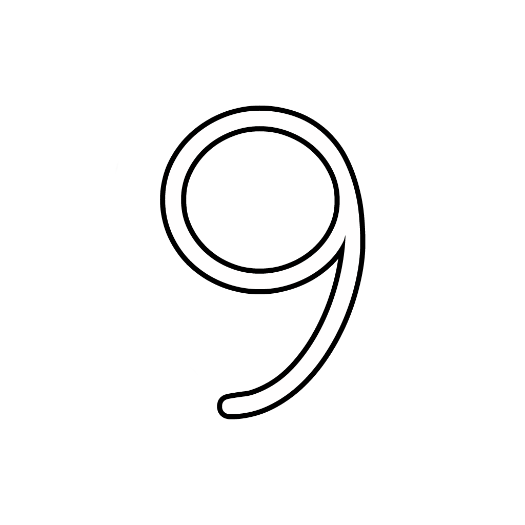 Letters And Numbers - Number 9 (Nine) Cursive