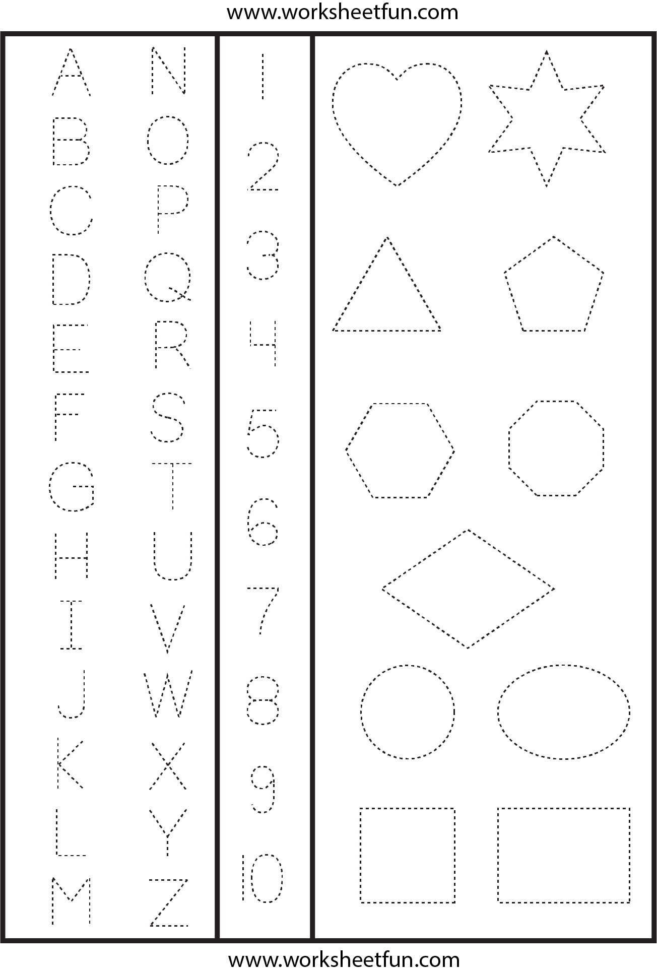 Letters, Numbers And Shapes Tracing Worksheet   Shape