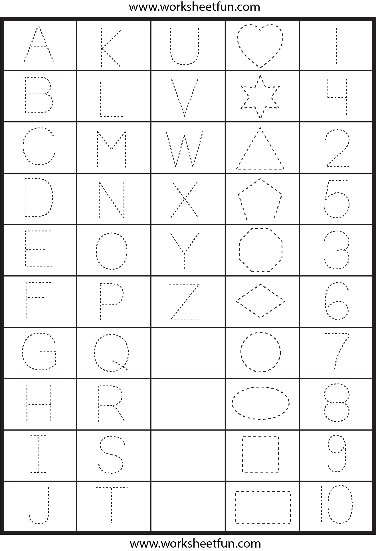 Letters, Numbers And Shapes Tracing Worksheets   School