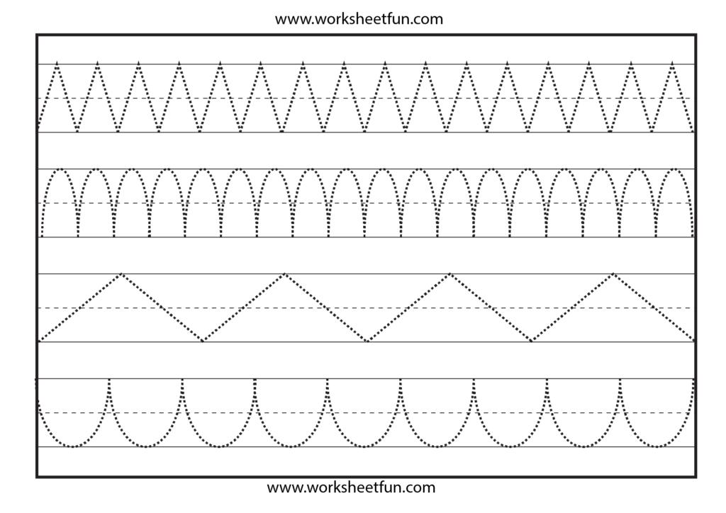 Line Tracing – 1 Worksheet | Tracing Worksheets Free, Shape