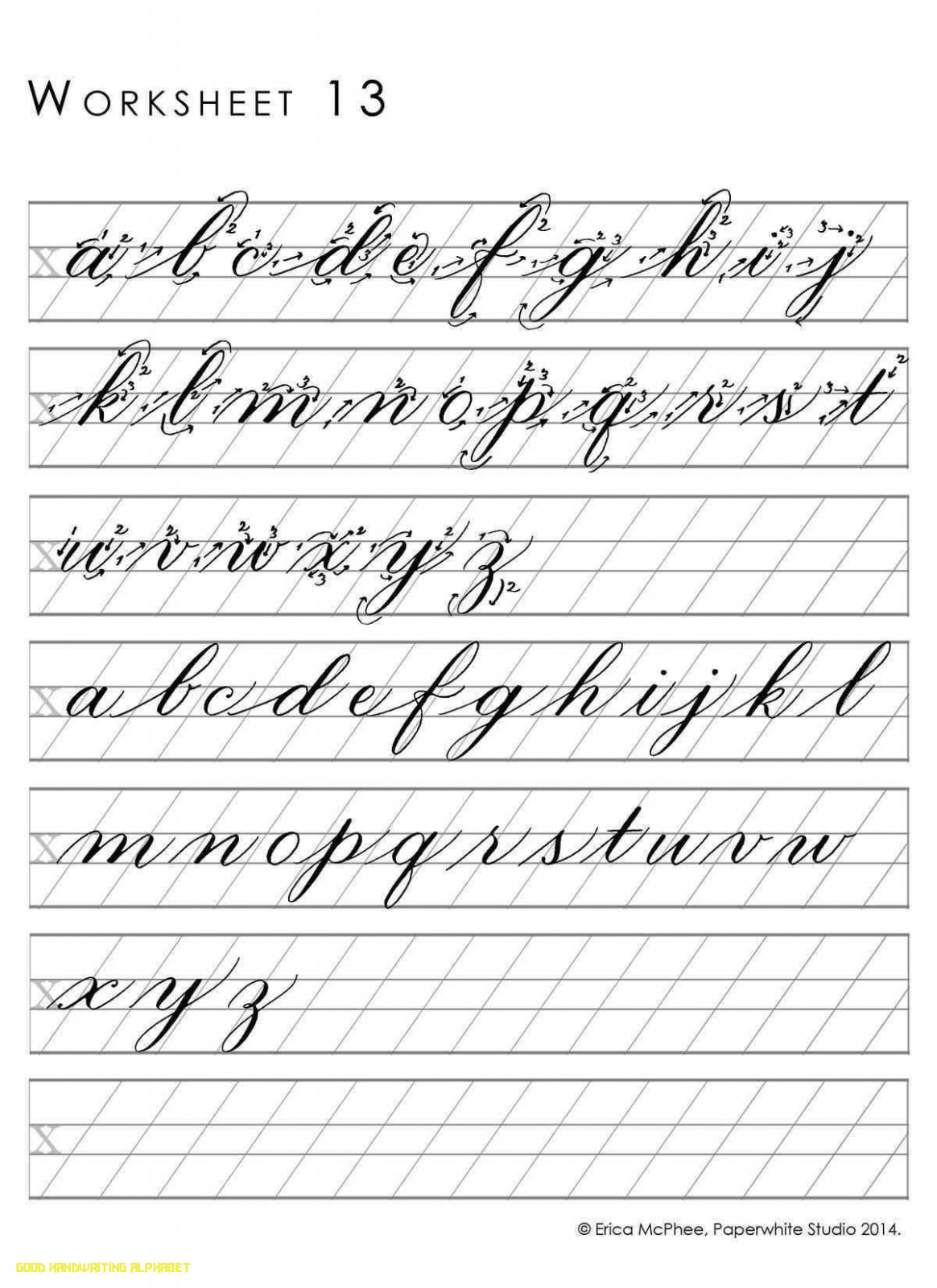 Lovely Good Handwriting Practice Cursive Writing Alphabet pertaining to Alphabet Worksheets For Older Students