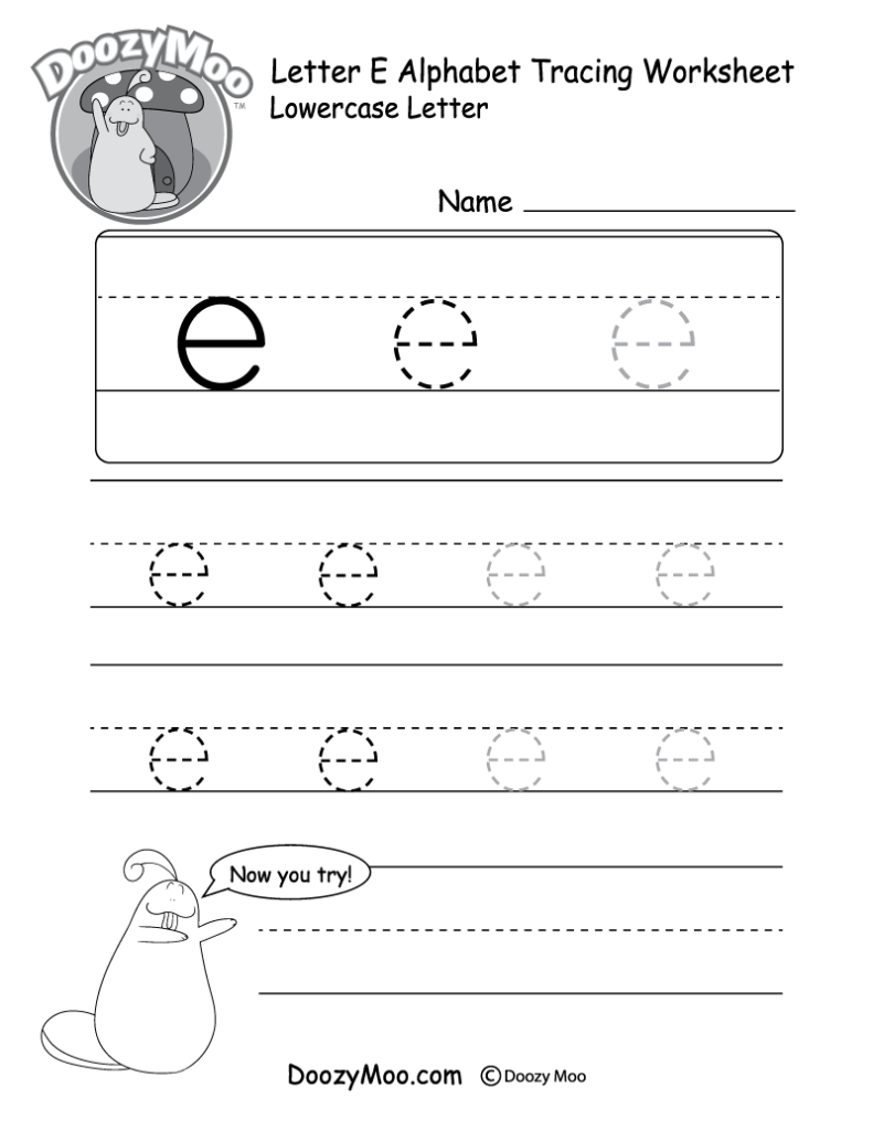 """Lowercase Letter """"e"""" Tracing Worksheet   Doozy Moo Intended For E Letter Tracing"""