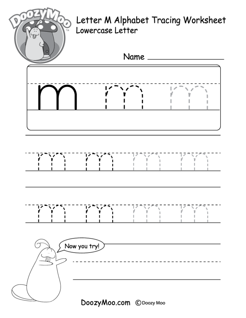 """Lowercase Letter """"m"""" Tracing Worksheet   Doozy Moo"""