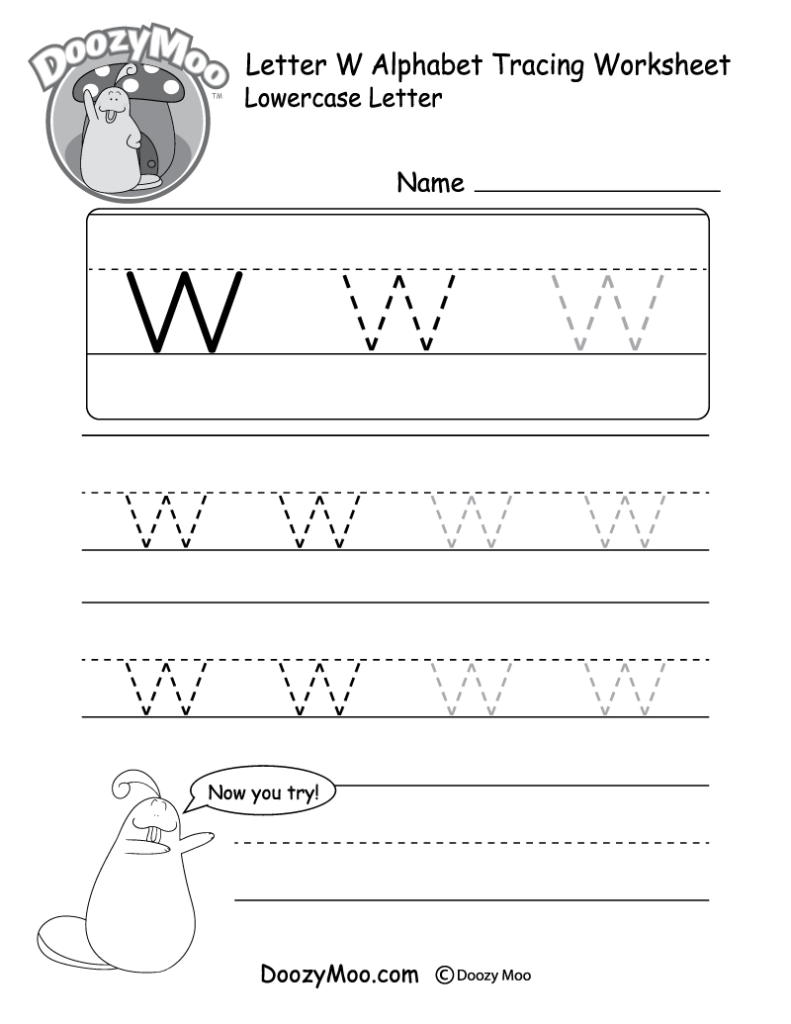 """Lowercase Letter """"w"""" Tracing Worksheet   Doozy Moo Intended For W Letter Tracing"""