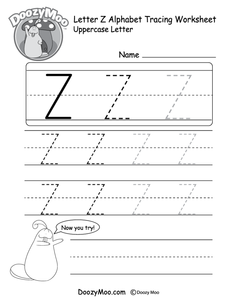 "Lowercase Letter ""z"" Tracing Worksheet   Doozy Moo"
