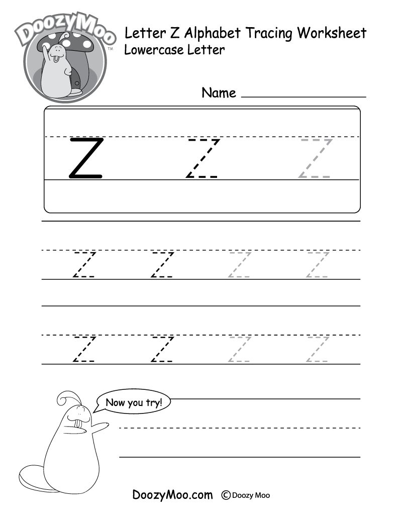 "Lowercase Letter ""z"" Tracing Worksheet - Doozy Moo for Name Tracing Worksheets A To Z"