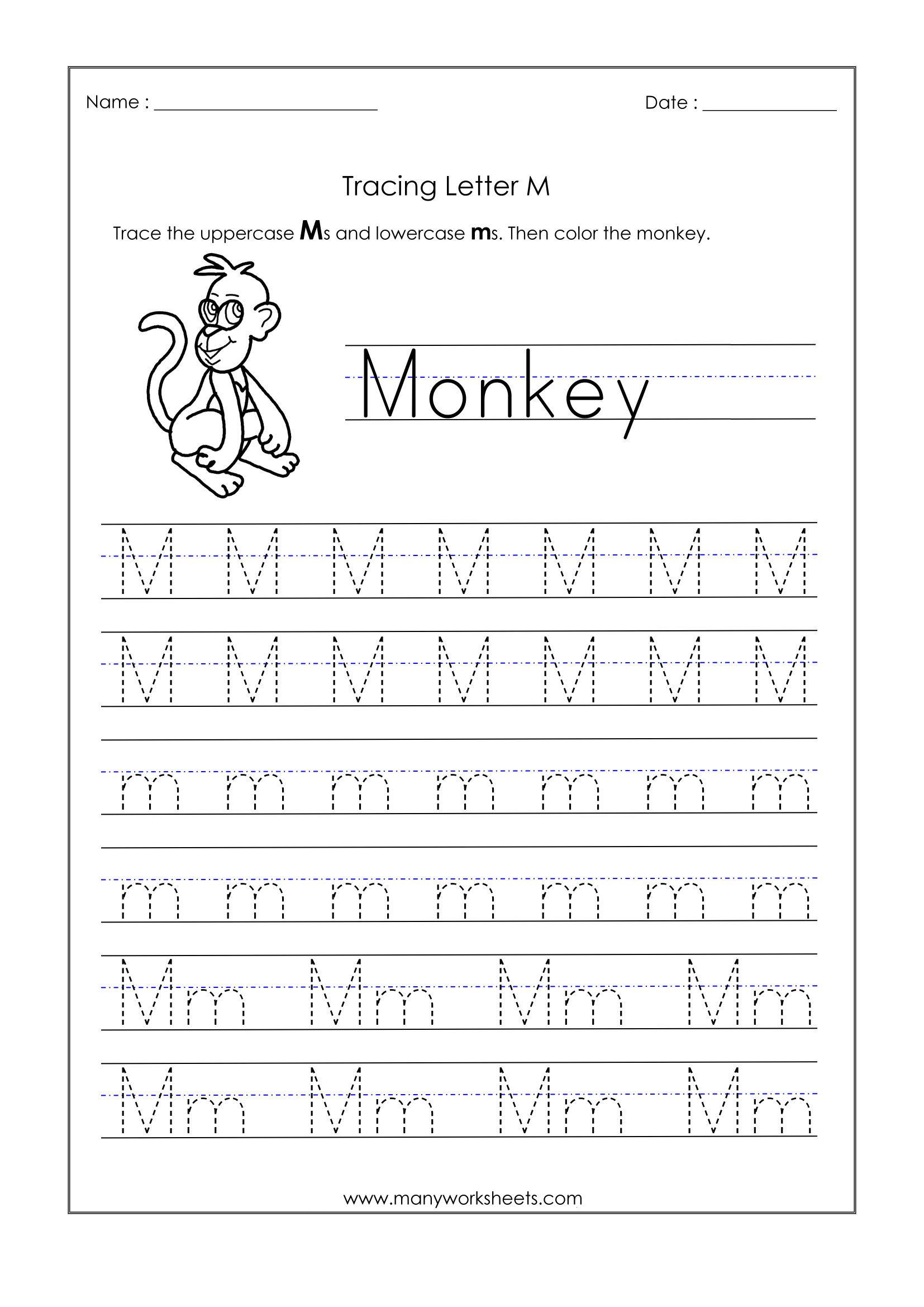 Math Worksheet : 42 Kindergarten Tracing Worksheets Picture with Letter M Tracing Worksheet