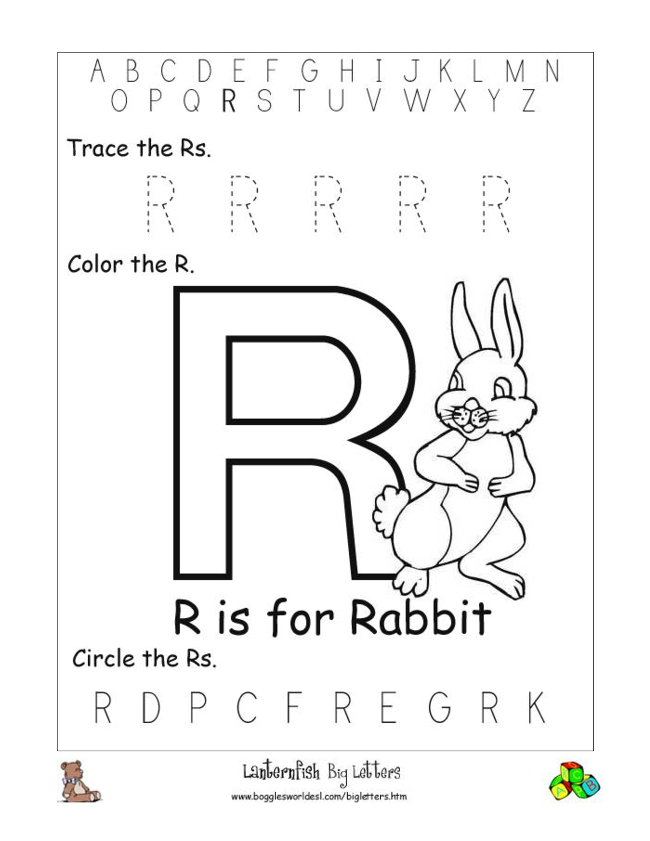 Math Worksheet : Alphabet Sheets For Kindergarten Letter R within Letter R Worksheets Preschool