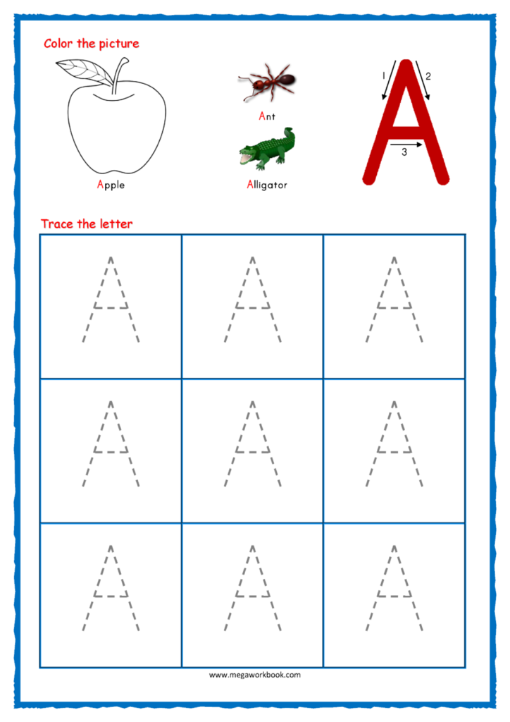 Math Worksheet ~ Capital Letter Tracing With Crayons 01