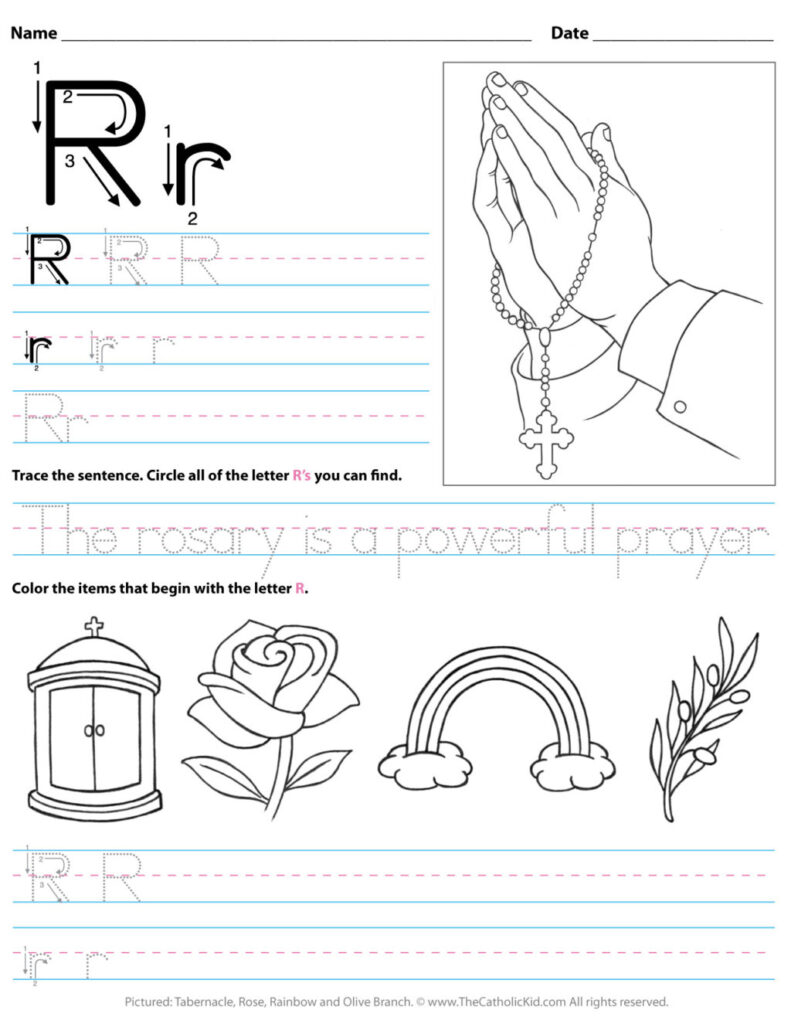 Math Worksheet ~ Catholic Alphabet Letter R Worksheet In Letter R Worksheets Preschool