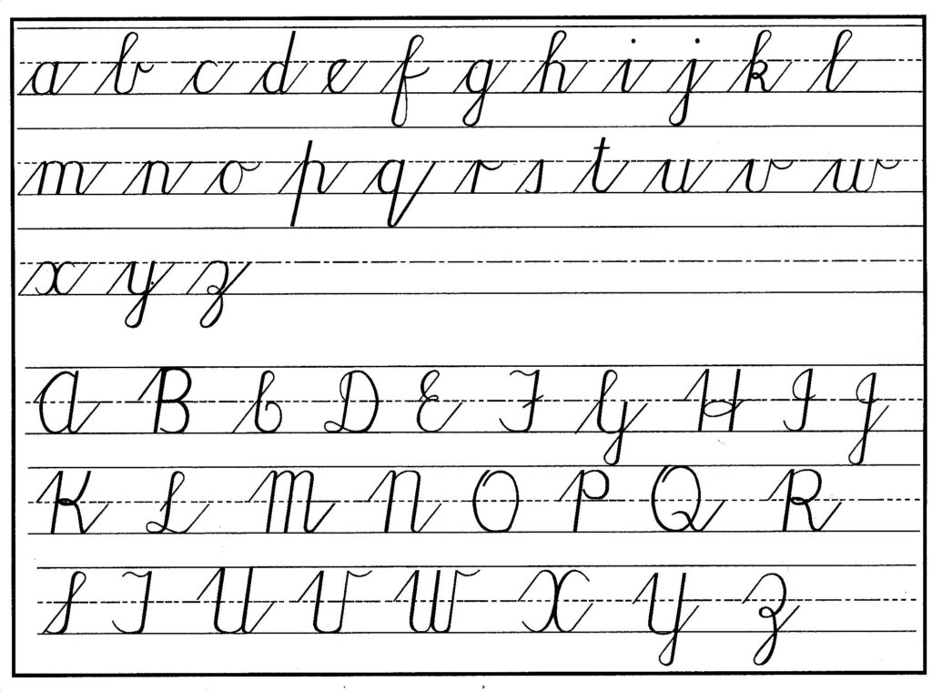 Math Worksheet : Cursive Handwritng Chart Lower Upper Small