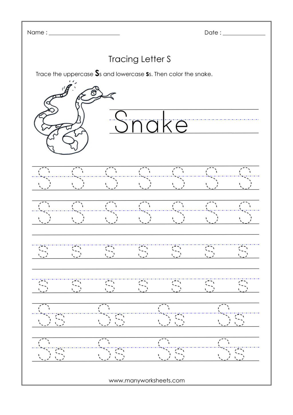 Math Worksheet ~ Letter S Tracing Worksheet Kindergarten