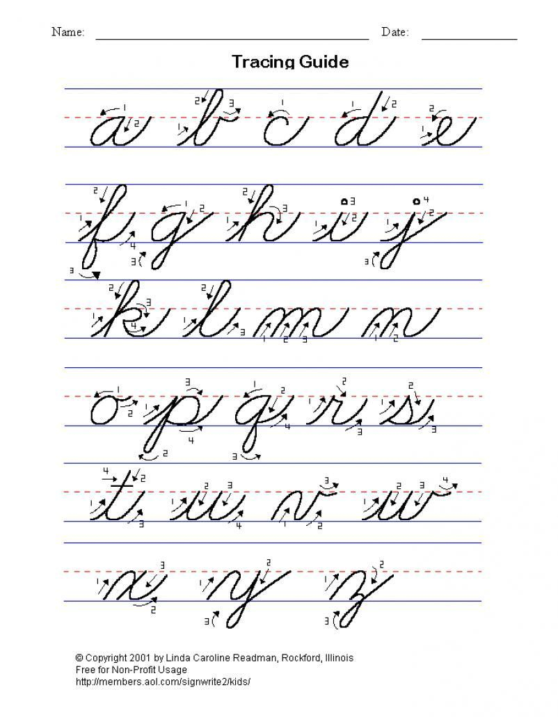 Math Worksheet : Practice Cursive Alphabet Template