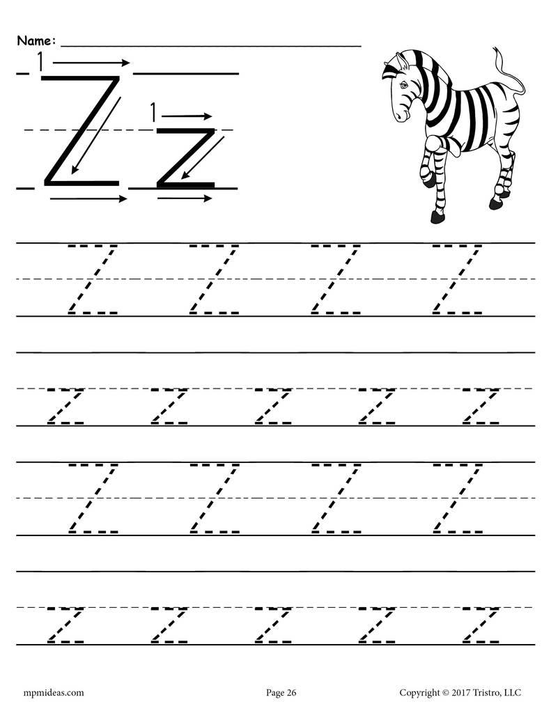 Math Worksheet : Printable Alphabet Lettercing Worksheets inside Letter Z Tracing Sheet