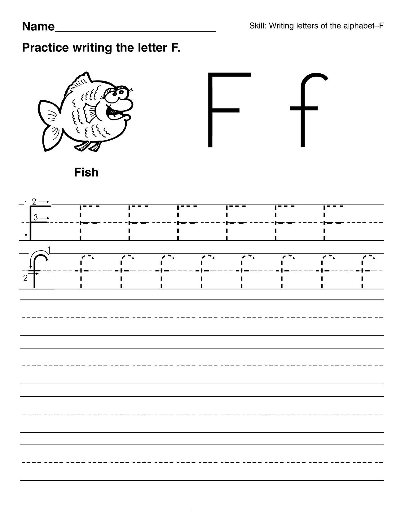 Math Worksheet Printing Letters Worksheets Tracing Name inside Letter F Tracing Worksheets Pdf