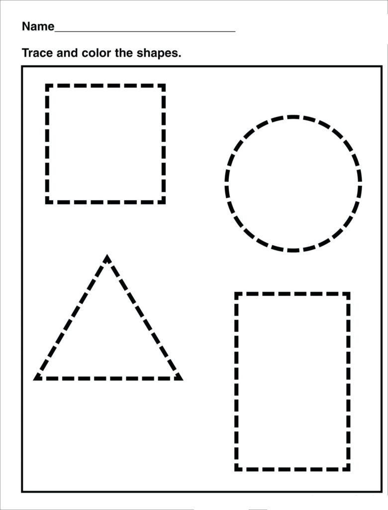 Math Worksheet : Tracing Shape Preschool Free Printableeets