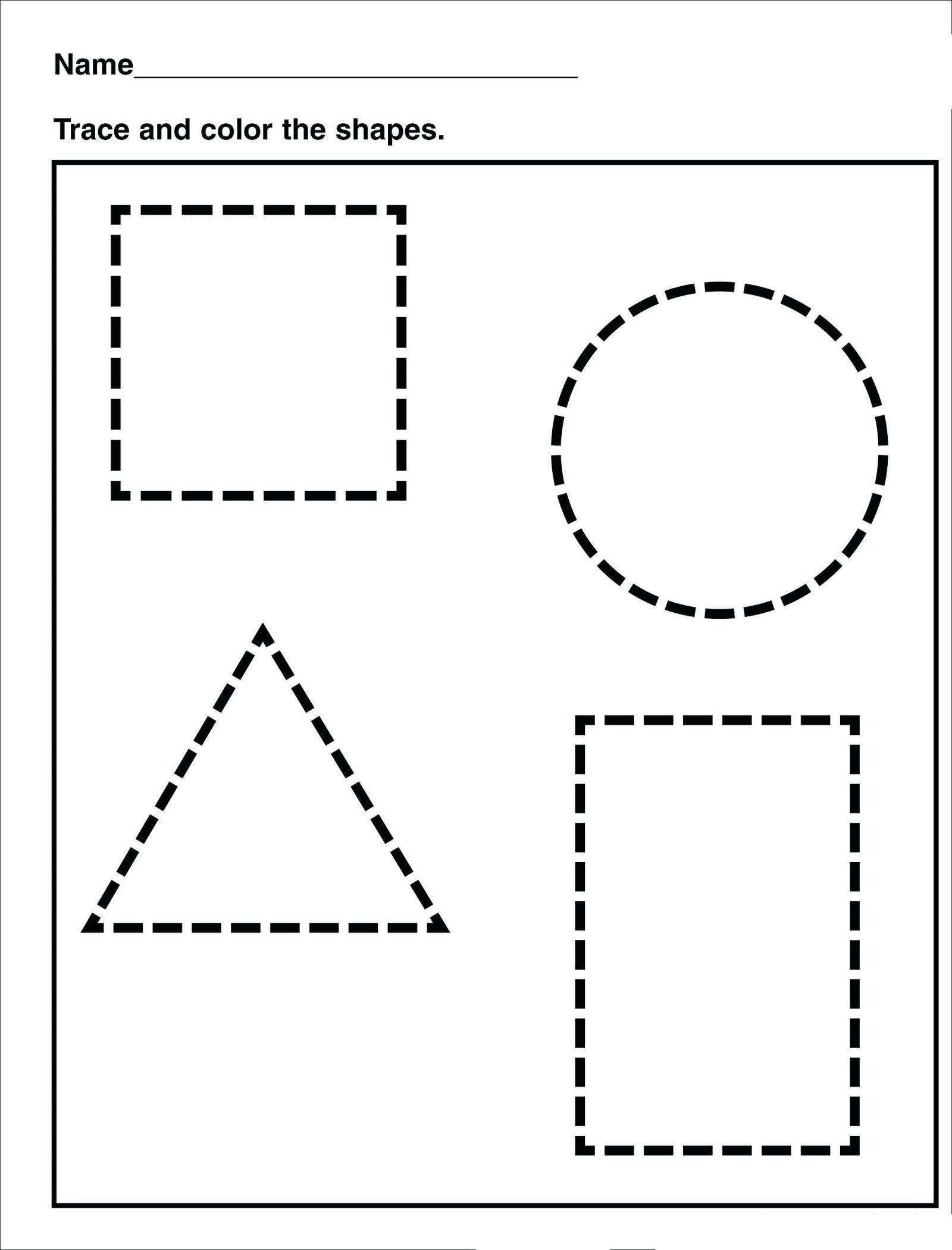 Math Worksheet : Tracing Shape Preschool Free Printableeets