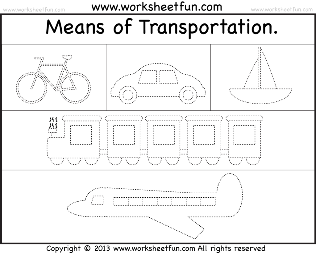 Means Of Transportation – Tracing Worksheet / Free Printable