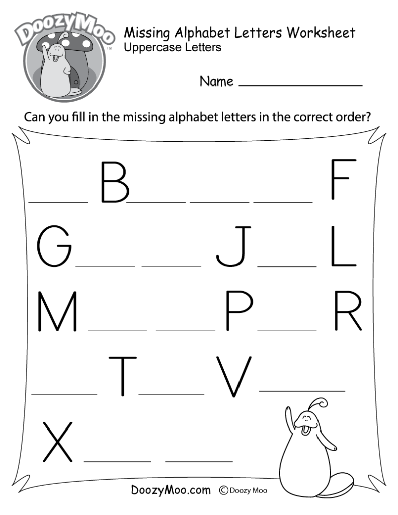 Missing Letter Worksheets (Free Printables)   Doozy Moo With Regard To Alphabet Worksheets A Z Printable