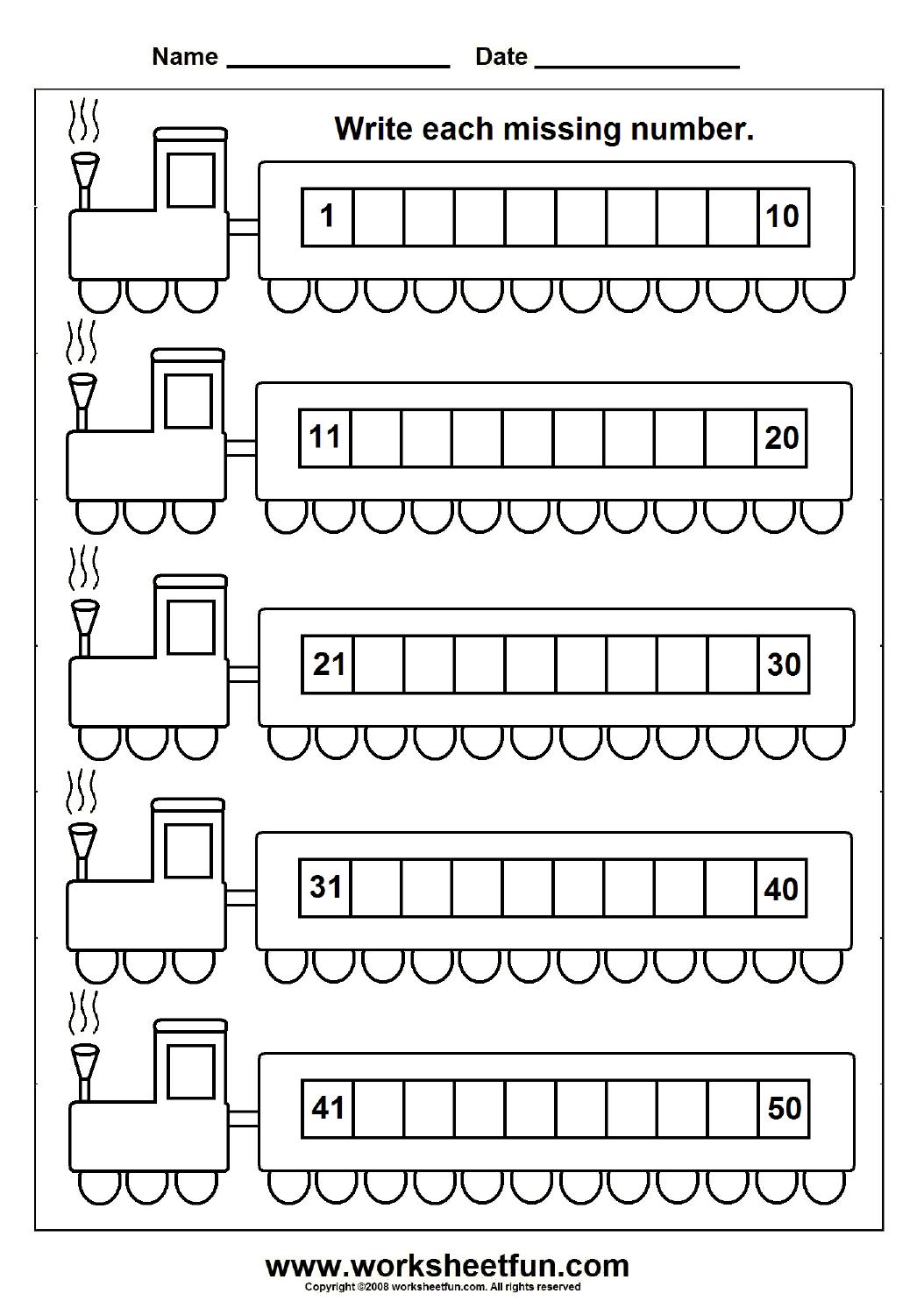 Missing Numbers (1-50) – 6 Worksheets | Kindergarten Math