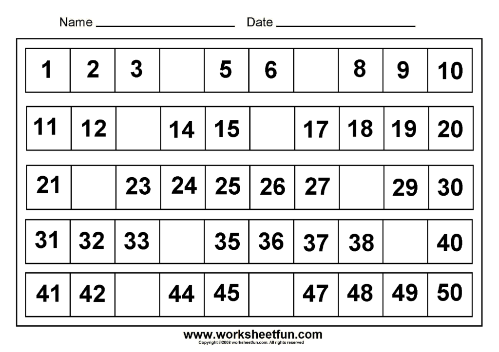 Missing+Numbers+1 50 In 2020 | Free Printable Math