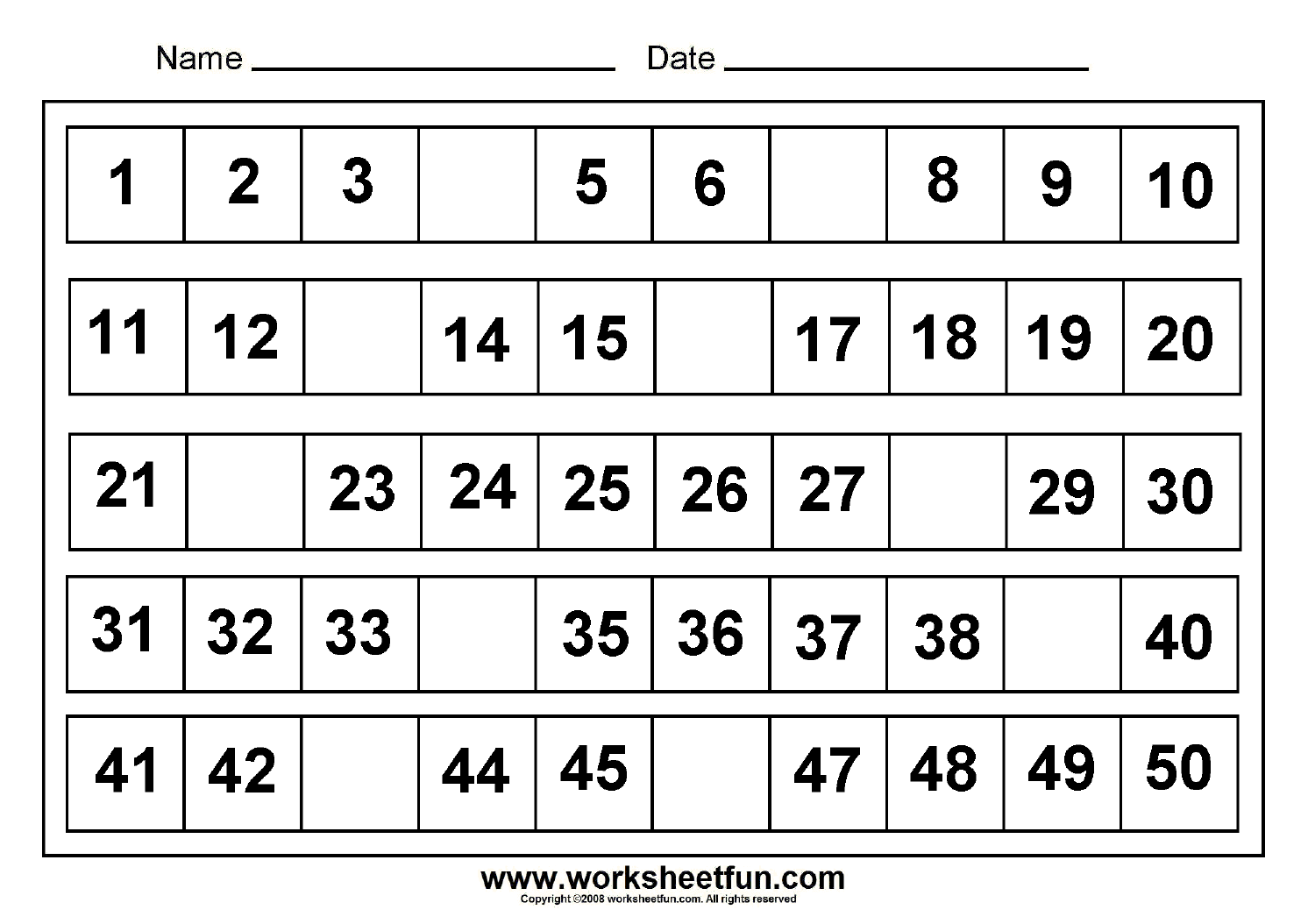 Missing+Numbers+1-50 In 2020 | Free Printable Math