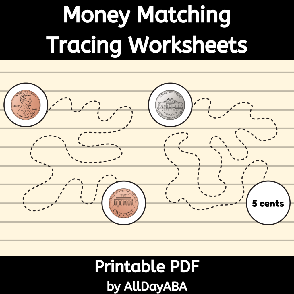 Money Matching Tracing Worksheets   Identifying Coins And